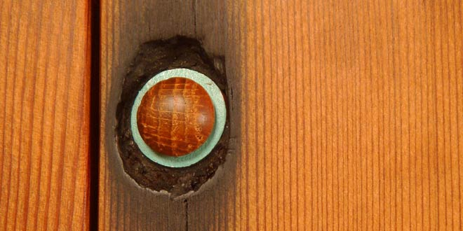bolt hole in redwood plank