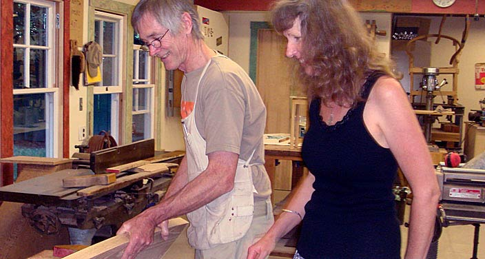 Bob and Evelyn in workshop