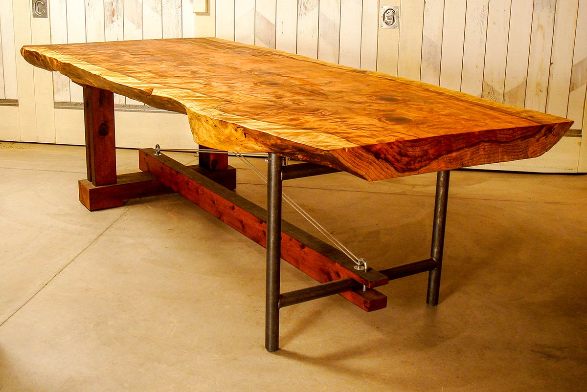 large wood table with natural edge