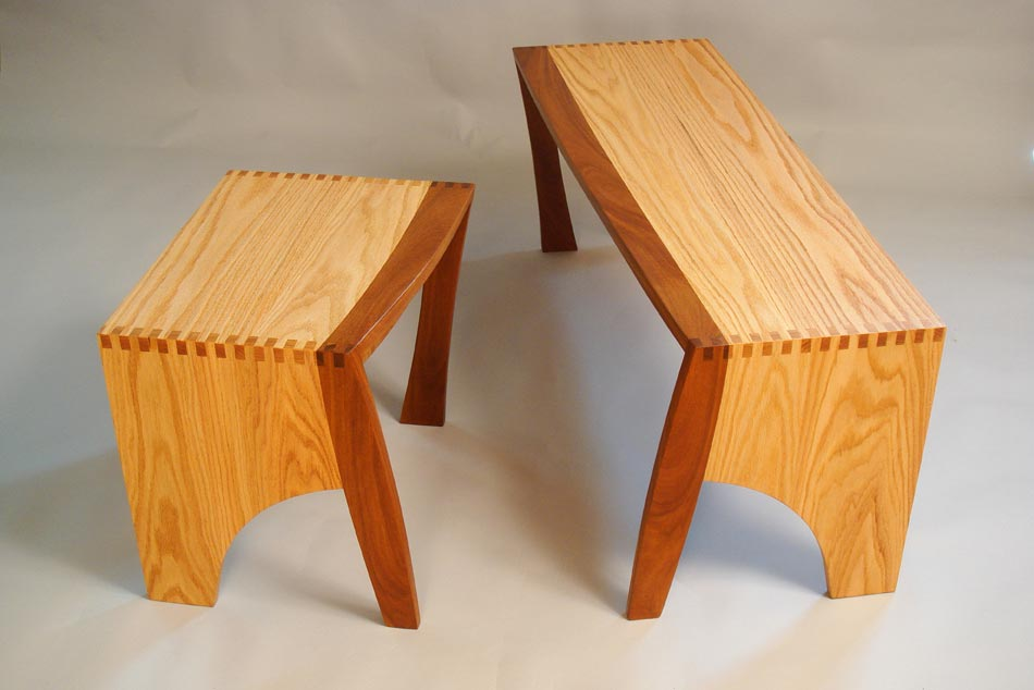 matching wooden benches